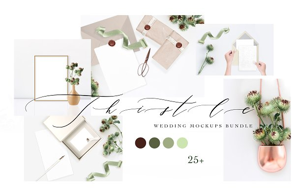 Product Mockups: OntheMoon - THISTLE. WEDDING MOCKUPS BUNDLE.