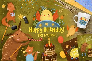 Happy birthday set clip art animals