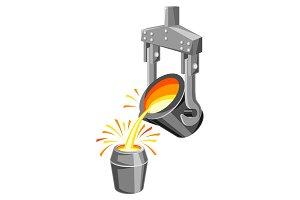 Metallurgical ladle illustration.