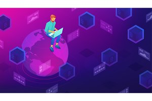 Isometric big data architect concept