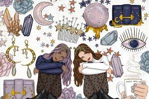Stars Crystals Fashion Girl Clip Art