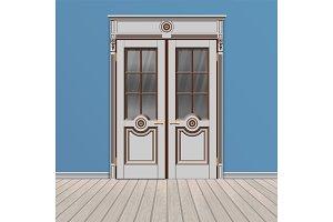 white double entrance door