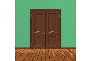 wooden double entrance door vector