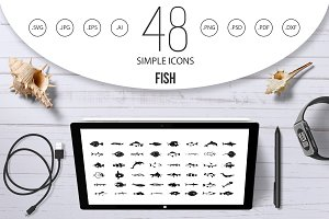 Fish icon set, simple style