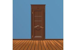 wooden entrance door vector