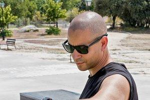 sportsman using smartwatch