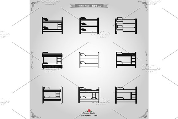 Bunk bed icon vector in Objects