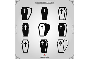 Coffin icon vector