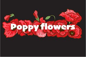 Poppy flowers set maker