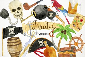 Watercolor Pirates Clipart