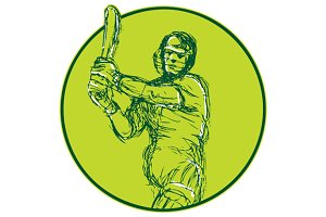 Cricket Player Batsman Batting Drawi