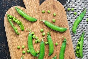 Green peas , flat lay.