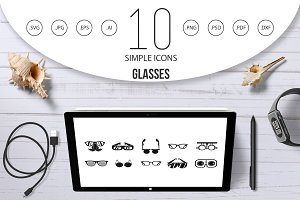Glasses icon set, simple style