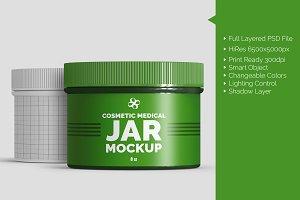 Cosmetic Medical 8oz Jar Mockup
