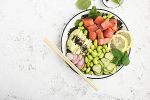 Fresh seafood kitchen. Poke a bowl