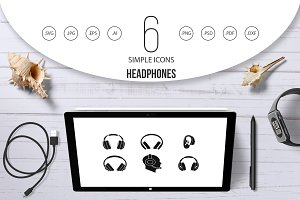 Headphones icon set, simple style