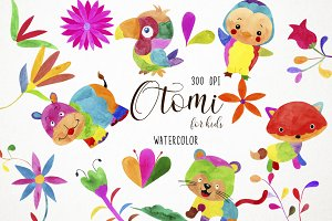 Watercolor Otomi Clipart