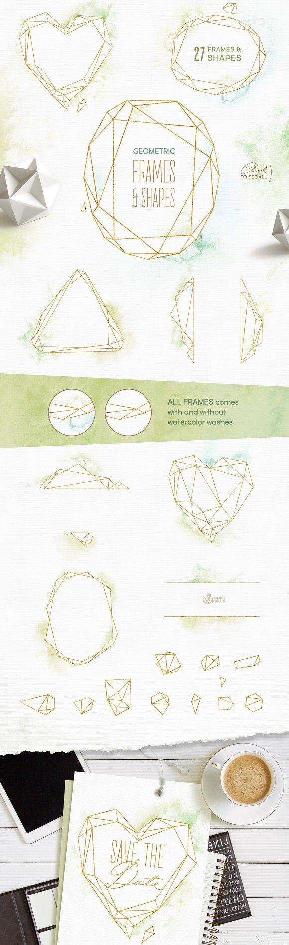 5f4d07823429 Crystal. Floral   Polygonal Bundle ~ Illustrations ~ Creative Market