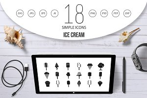 Ice cream icon set, simple style