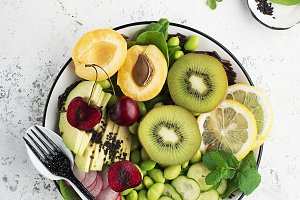 Summer fruit bowl. Vegetarian snack