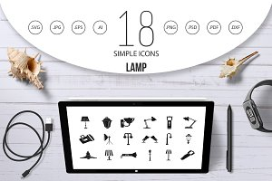 Lamp icon set, simple style