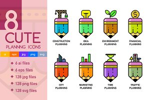 8 Cute Planning Icons Pack