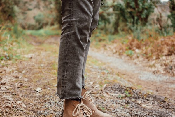 Close up picture of leather boots w…