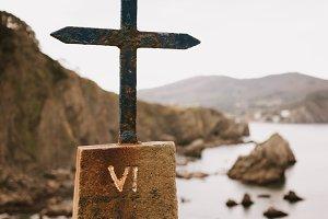 Cross by the ocean