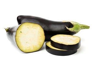 Eggplant and half with slices