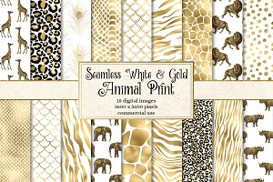 White and Gold Animal Skins