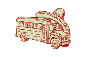 Sombrero School Bus Etching