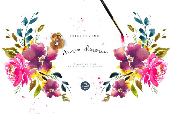 Illustrations and Illustration Products: Sammy's Illustration - Mon Amour Watercolour Design Set