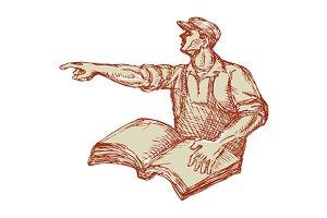 Activist Union Worker Pointing Book