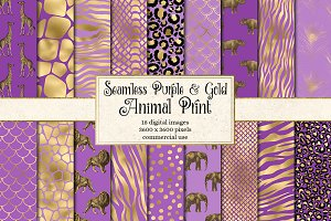 Purple and Gold Animal Print