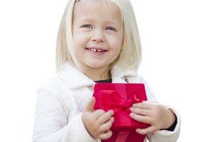 Baby Girl Holding Red Christmas Gift
