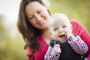 Little Baby Boy Having Fun With Momm
