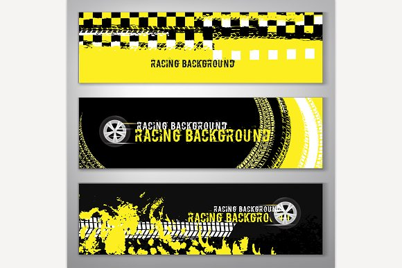 Grunge checkered racing banner