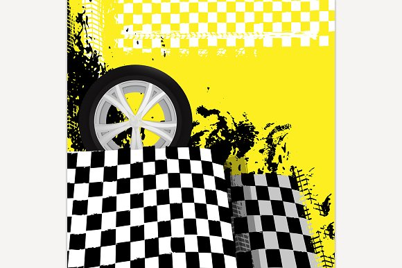 Grunge checkered racing background in Illustrations