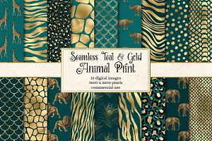Teal and Gold Animal Print