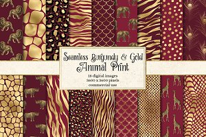Burgundy and Gold Animal Prints