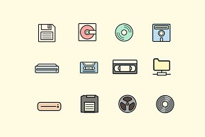 12 Retro Storage Icons