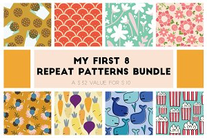 8 Seamless Repeat Patterns Bundle
