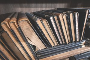 Old books in a vintage library