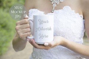 Bride holding 15oz Mug Mockup
