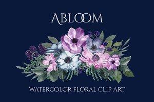 Abloom - Watercolor Floral Clip Art
