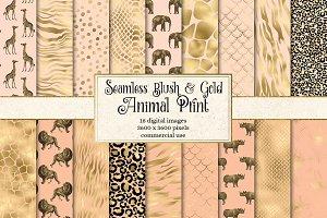 Blush and Gold Animal Print