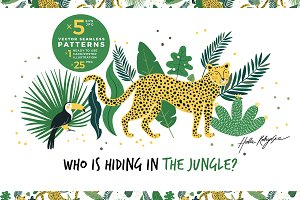 Leopards and jungle seamless pattern