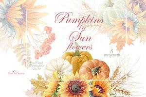 Pumpkins in Sunflowers arrangement