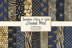 Navy and Gold Animal Prints