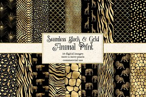 Black and Gold Animal Print